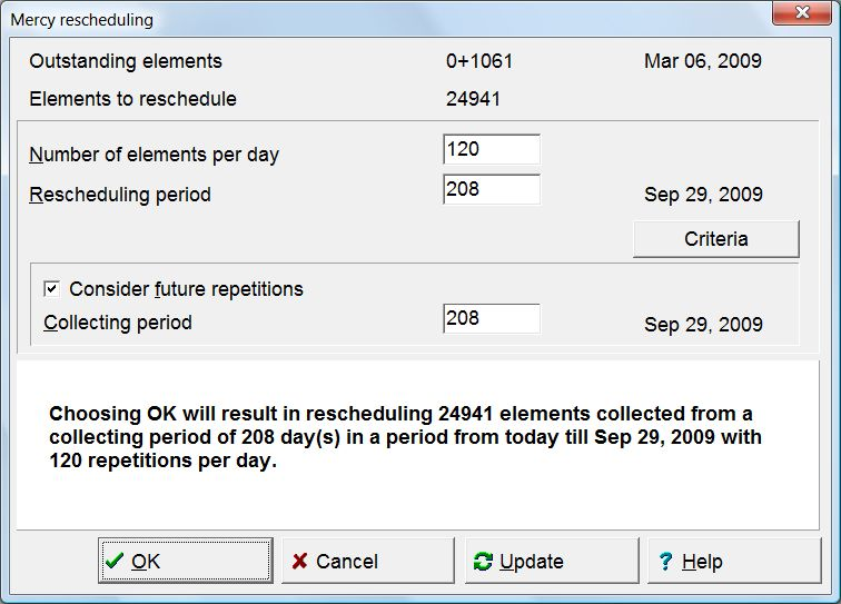 SuperMemo: You can use Mercy to make repetitions before a vacation period, randomize or reschedule outstanding repetitions, etc.
