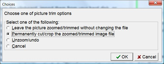 SuperMemo: The list of options presented upon quitting the zoom&trim mode