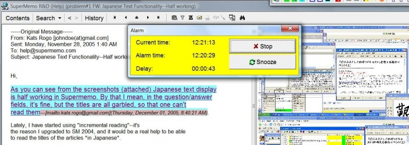 SuperMemo: Incremental e-mail processing interrupted by Alarm when the time allocated for the activity has been come to an end