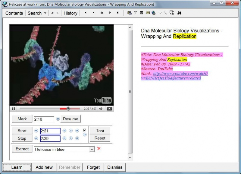 SuperMemo: Incremental video in action - Incremental learning about DNA wrapping and replication based on a video imported from YouTube