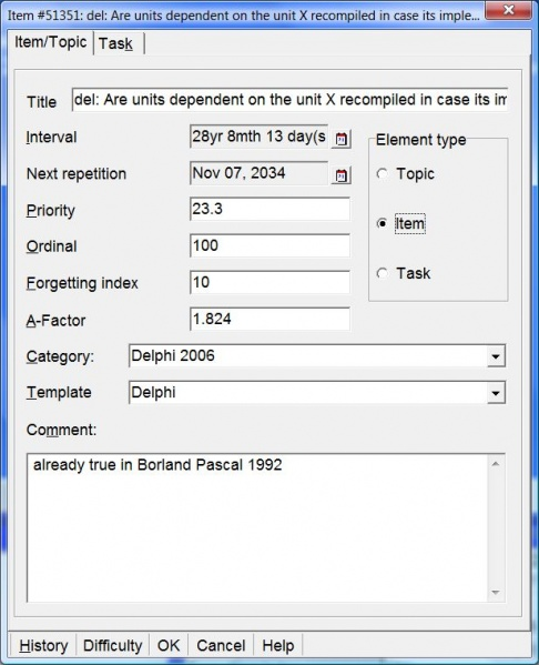 SuperMemo: Item/Topic tab in the Element parameters dialog box