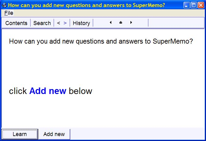 Adding new questions and answers to SuperMemo