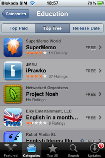 SuperMemo for iPhone at the top of educational freeware