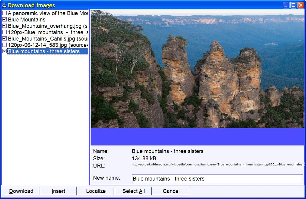 SuperMemo: downloading images (Blue Mountains article from Wikipedia)