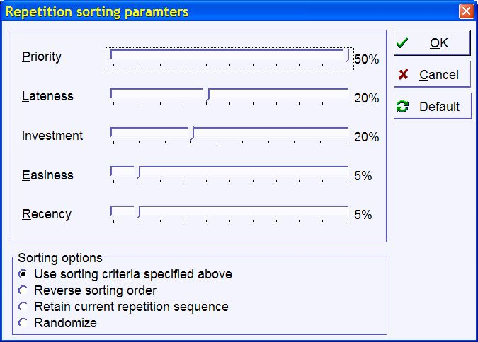 SuperMemo: Repetition sorting criteria (for Mercy)